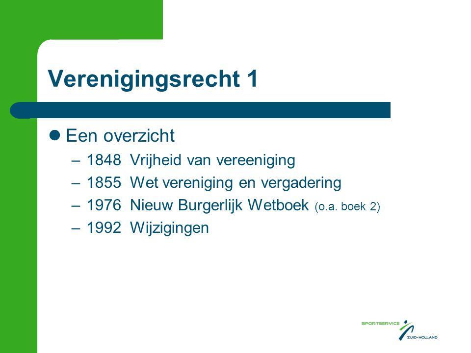 Verenigingsrecht 1 Een overzicht 1848 Vrijheid van vereeniging