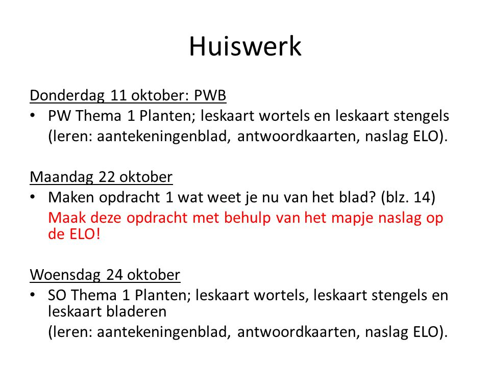 Huiswerk Donderdag 11 oktober: PWB