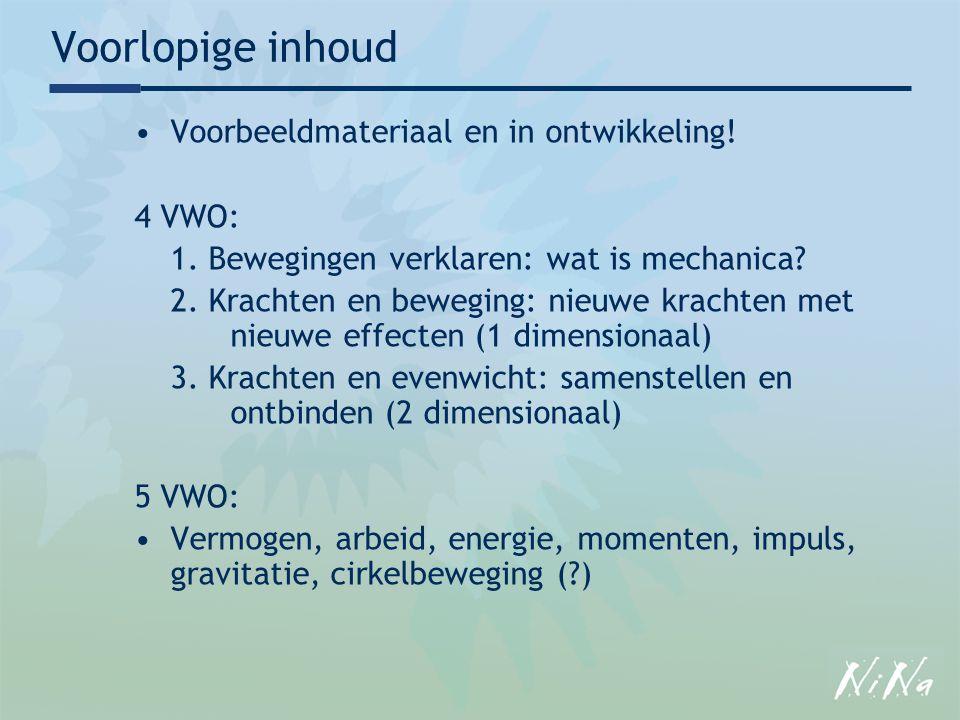 Voorlopige inhoud Voorbeeldmateriaal en in ontwikkeling! 4 VWO: