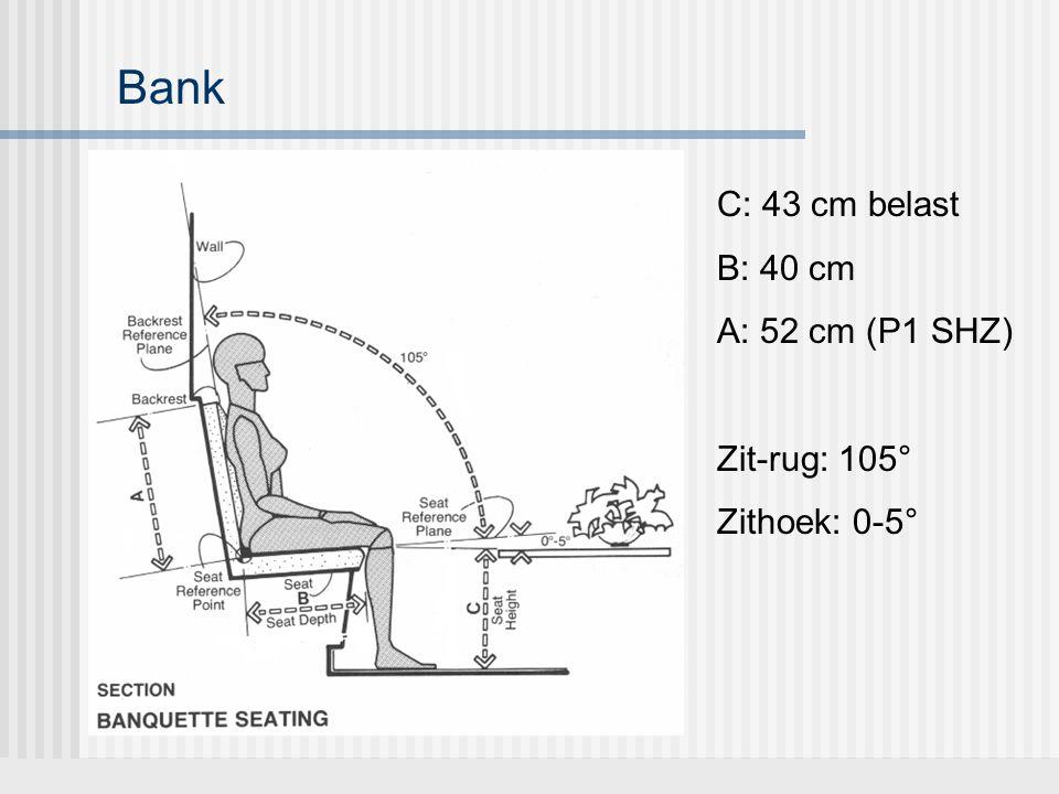 Bank C: 43 cm belast B: 40 cm A: 52 cm (P1 SHZ) Zit-rug: 105°