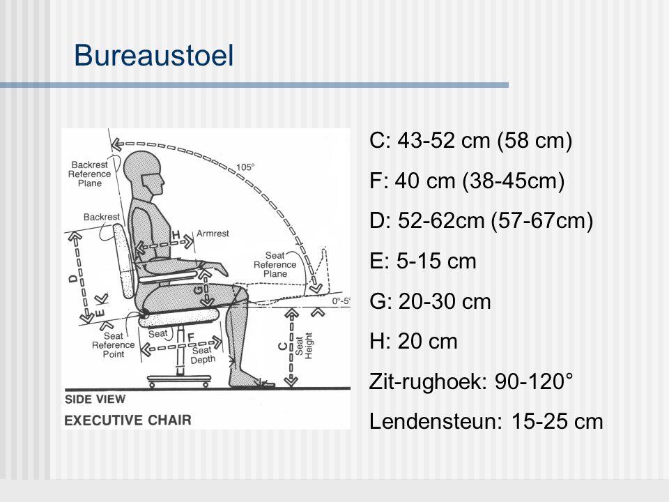 Bureaustoel C: 43-52 cm (58 cm) F: 40 cm (38-45cm)