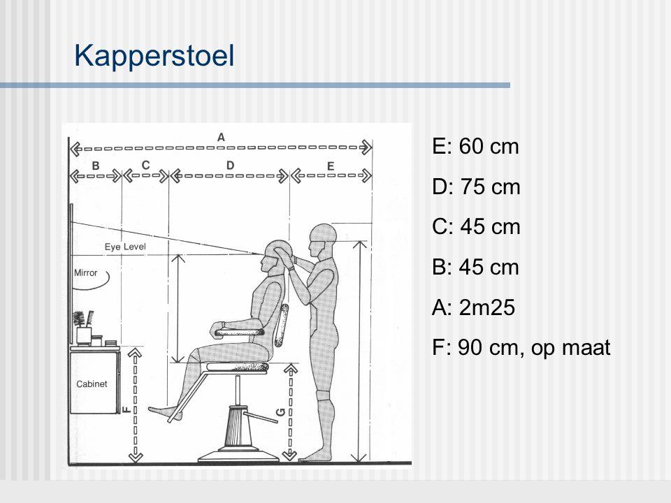 Kapperstoel E: 60 cm D: 75 cm C: 45 cm B: 45 cm A: 2m25