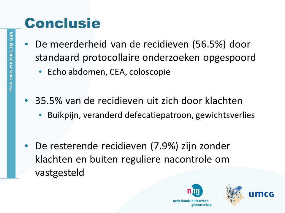 Conclusie De meerderheid van de recidieven (56.5%) door standaard protocollaire onderzoeken opgespoord.