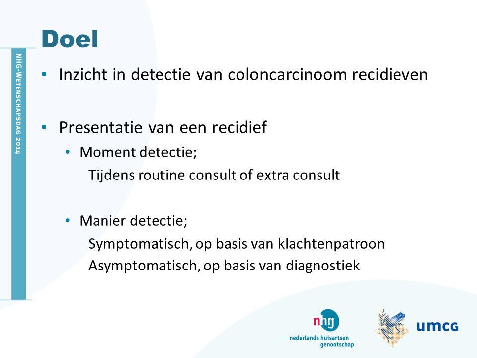 Doel Inzicht in detectie van coloncarcinoom recidieven