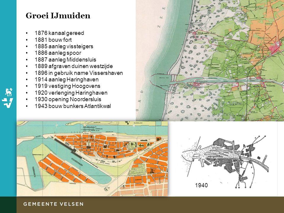 Groei IJmuiden 1876 kanaal gereed 1881 bouw fort