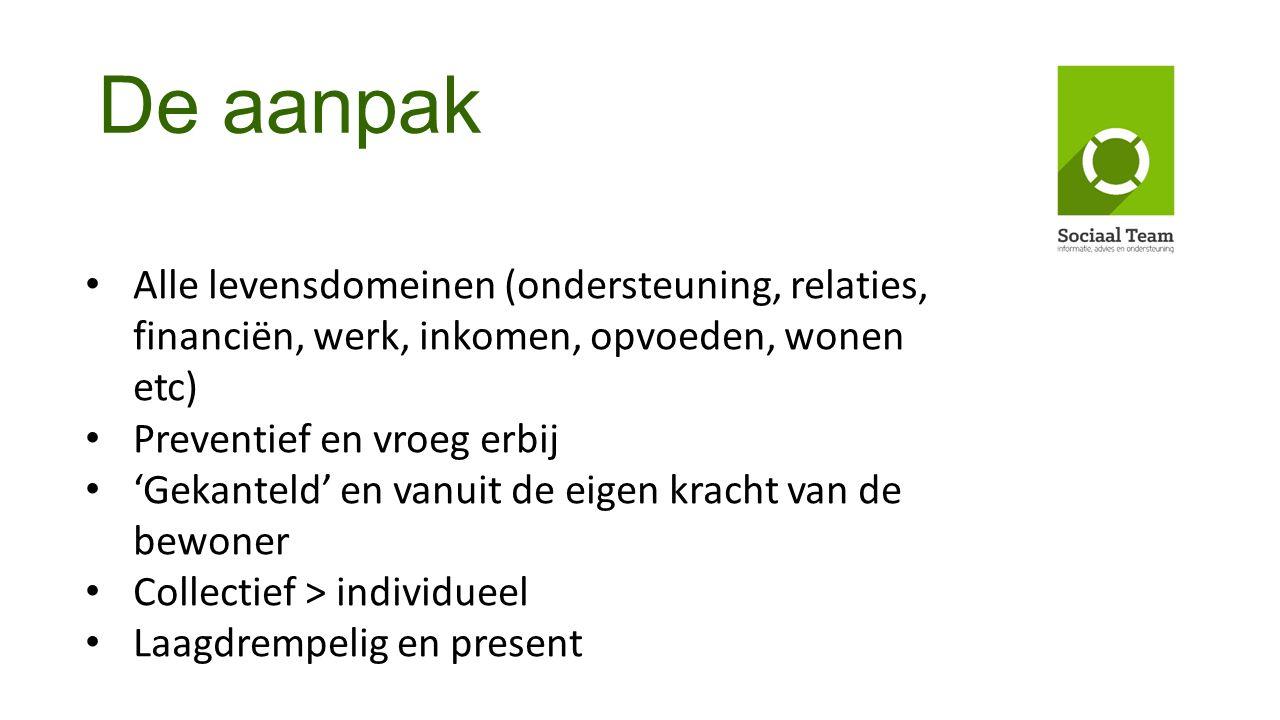 De aanpak Alle levensdomeinen (ondersteuning, relaties, financiën, werk, inkomen, opvoeden, wonen etc)
