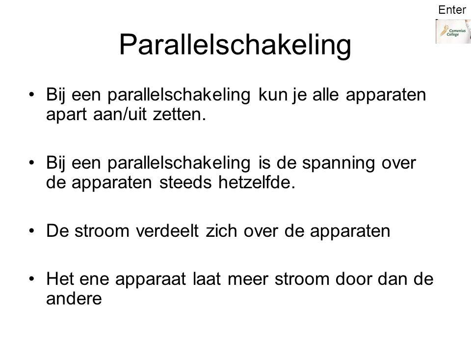 Enter Parallelschakeling. Bij een parallelschakeling kun je alle apparaten apart aan/uit zetten.