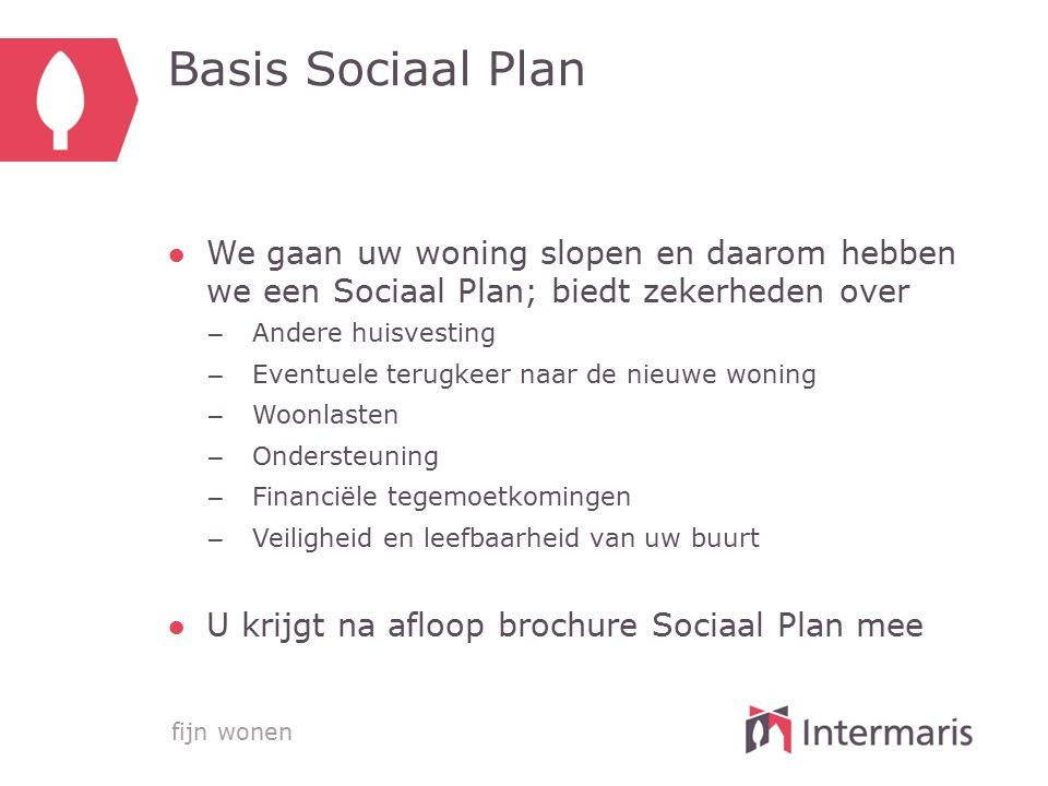 Basis Sociaal Plan We gaan uw woning slopen en daarom hebben we een Sociaal Plan; biedt zekerheden over.