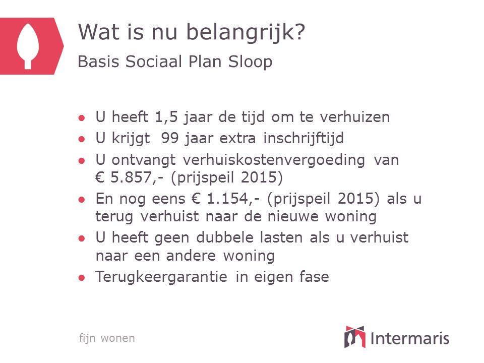 Wat is nu belangrijk Basis Sociaal Plan Sloop
