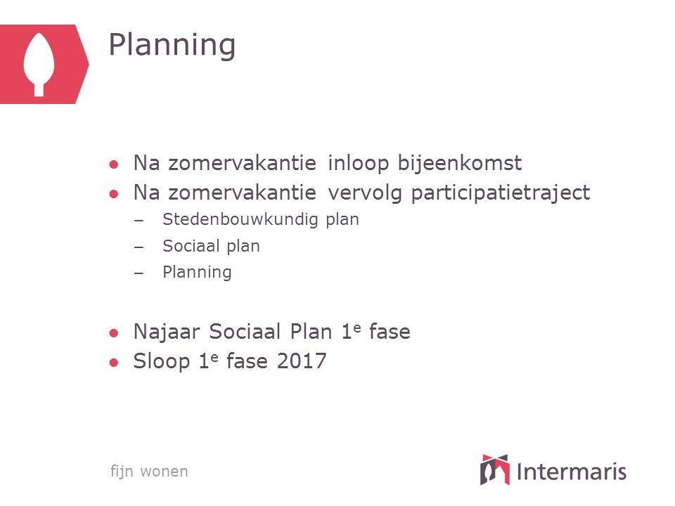 Planning Na zomervakantie inloop bijeenkomst