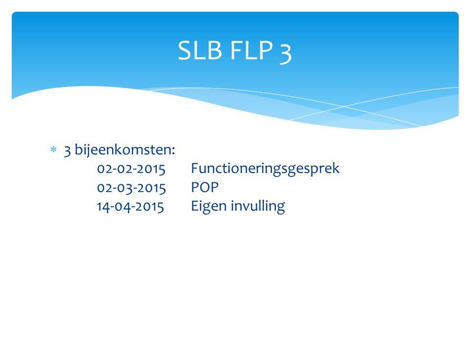 SLB FLP 3 3 bijeenkomsten: 02-02-2015 Functioneringsgesprek 02-03-2015 POP 14-04-2015 Eigen invulling.