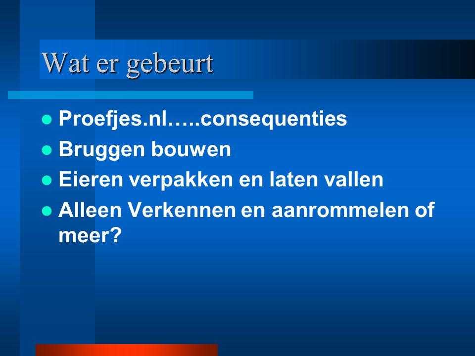 Wat er gebeurt Proefjes.nl…..consequenties Bruggen bouwen