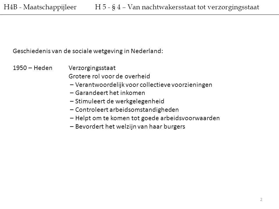 H4B - Maatschappijleer H 5 - § 4 – Van nachtwakersstaat tot verzorgingsstaat. Geschiedenis van de sociale wetgeving in Nederland: