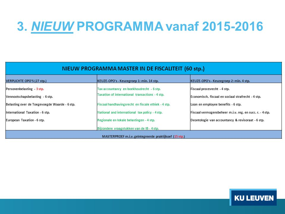 3. NIEUW PROGRAMMA vanaf 2015-2016