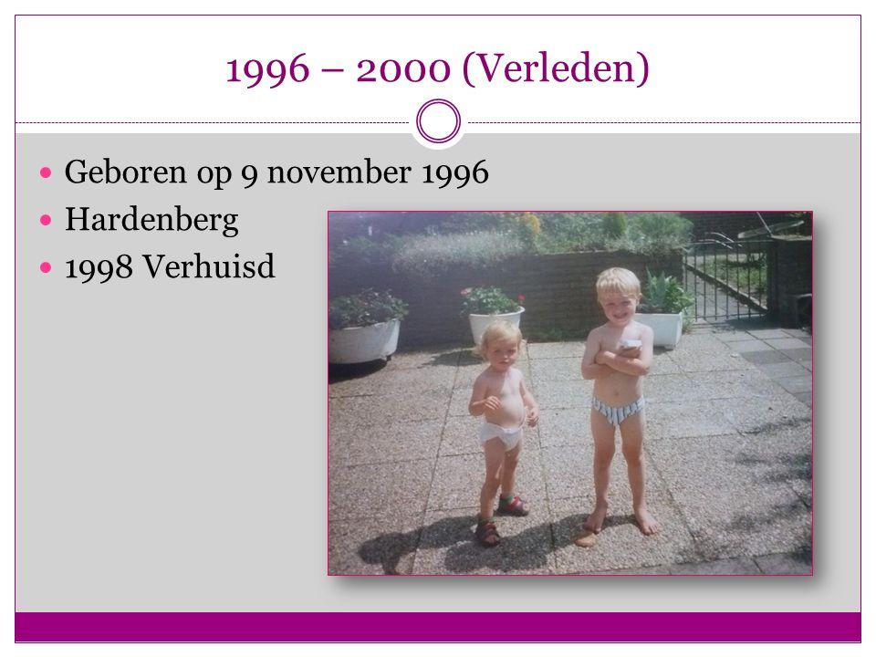 1996 – 2000 (Verleden) Geboren op 9 november 1996 Hardenberg