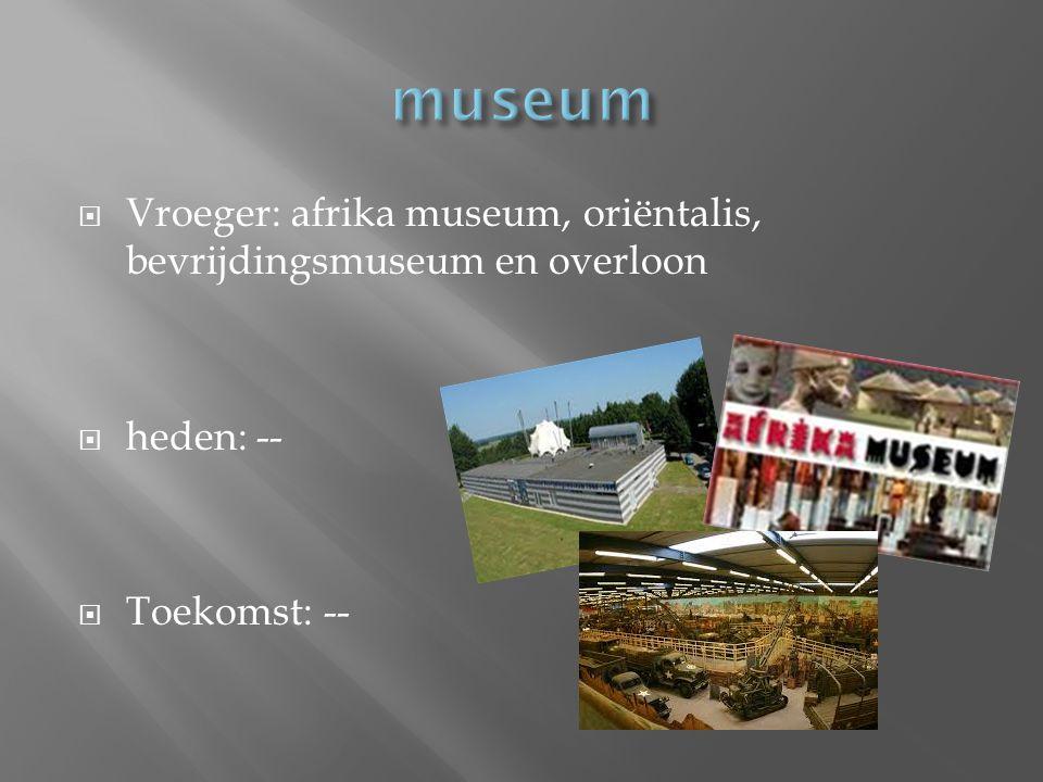 museum Vroeger: afrika museum, oriëntalis, bevrijdingsmuseum en overloon heden: -- Toekomst: --