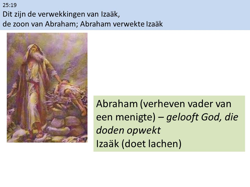 25:19 Dit zijn de verwekkingen van Izaäk, de zoon van Abraham; Abraham verwekte Izaäk