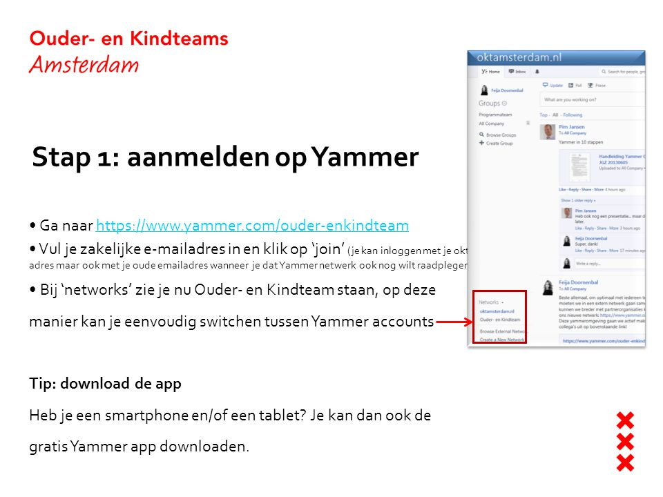Stap 1: aanmelden op Yammer