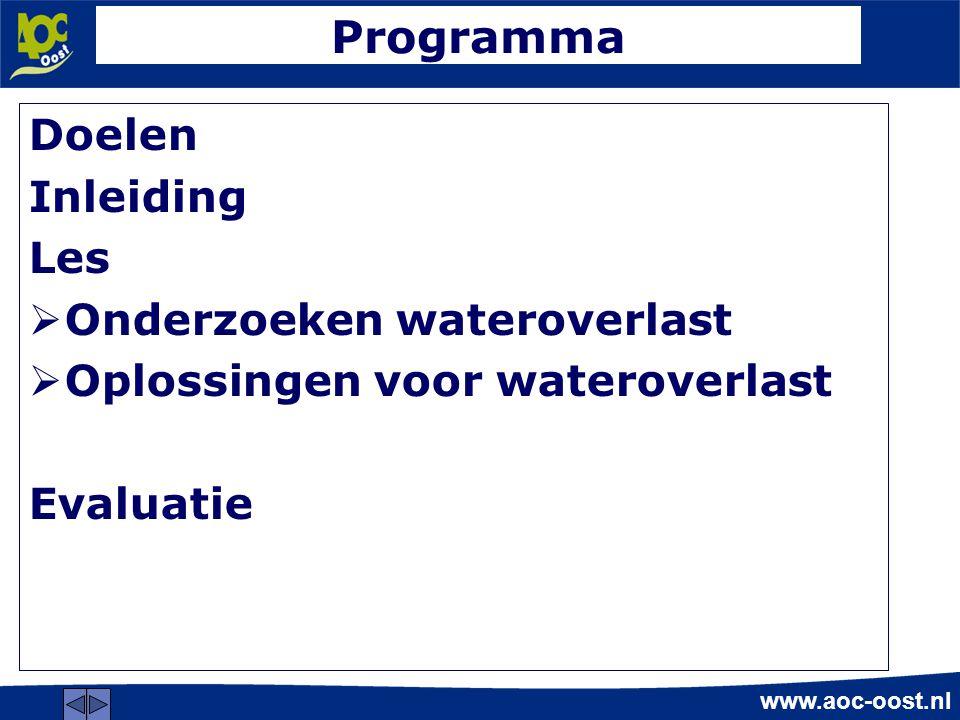 Programma Doelen Inleiding Les Onderzoeken wateroverlast