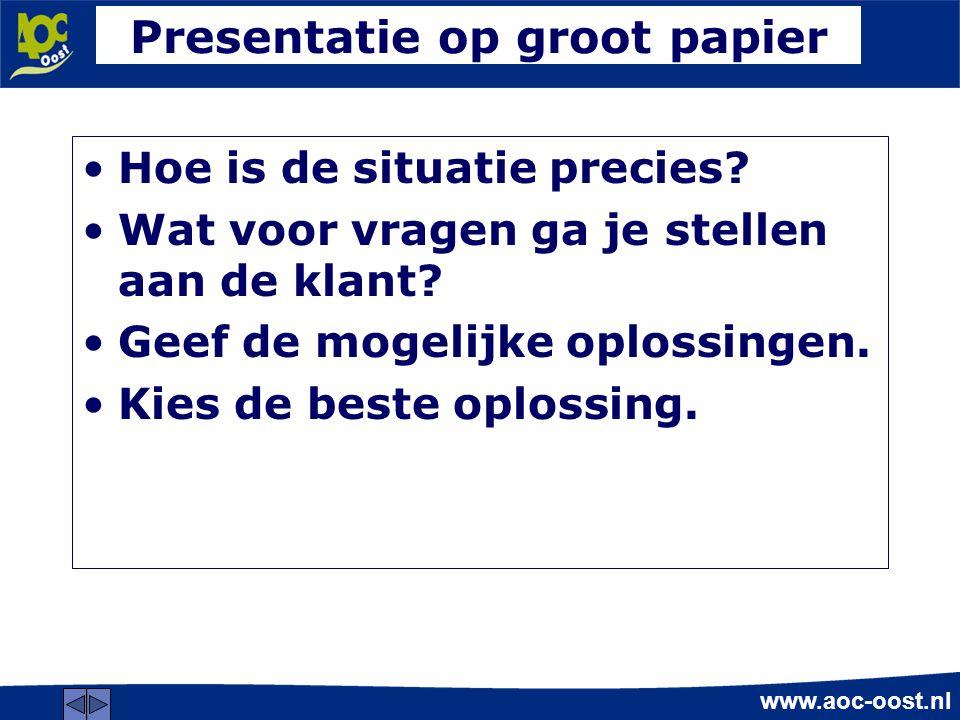 Presentatie op groot papier