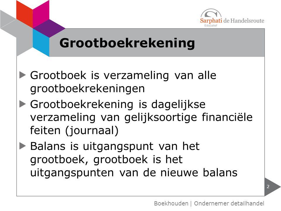 Grootboekrekening Grootboek is verzameling van alle grootboekrekeningen.