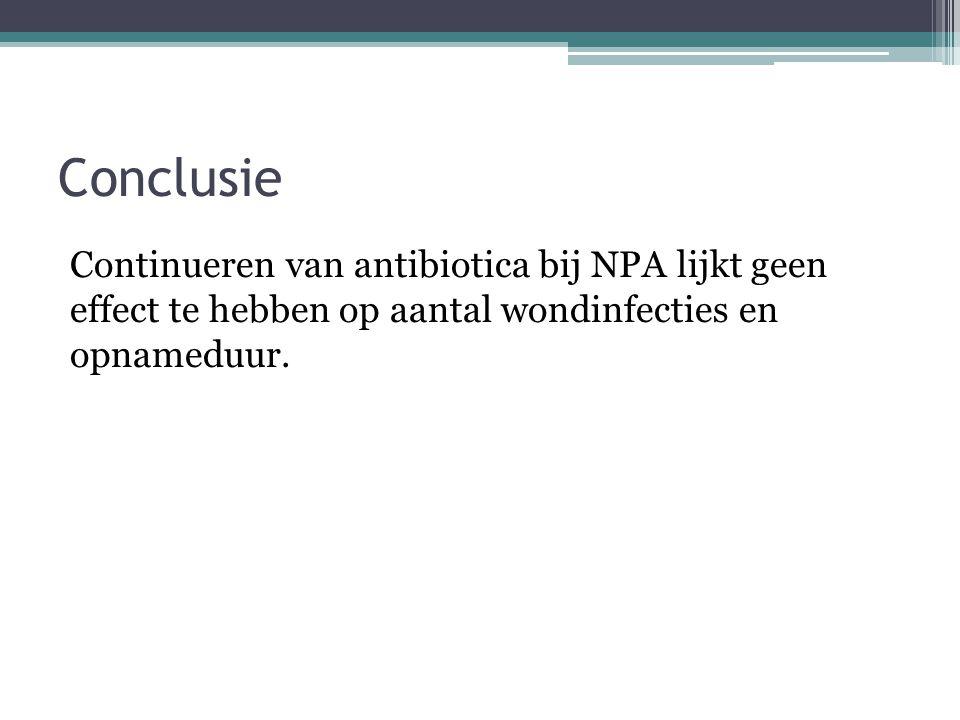 Conclusie Continueren van antibiotica bij NPA lijkt geen effect te hebben op aantal wondinfecties en opnameduur.