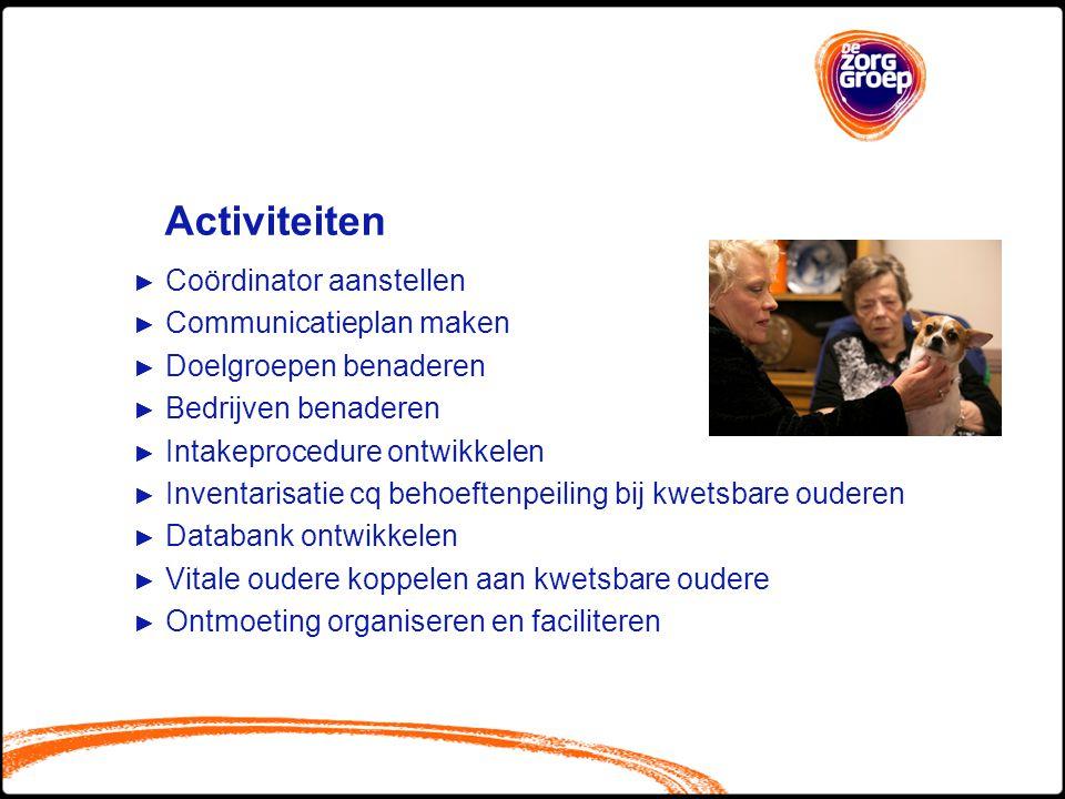 Activiteiten Coördinator aanstellen Communicatieplan maken