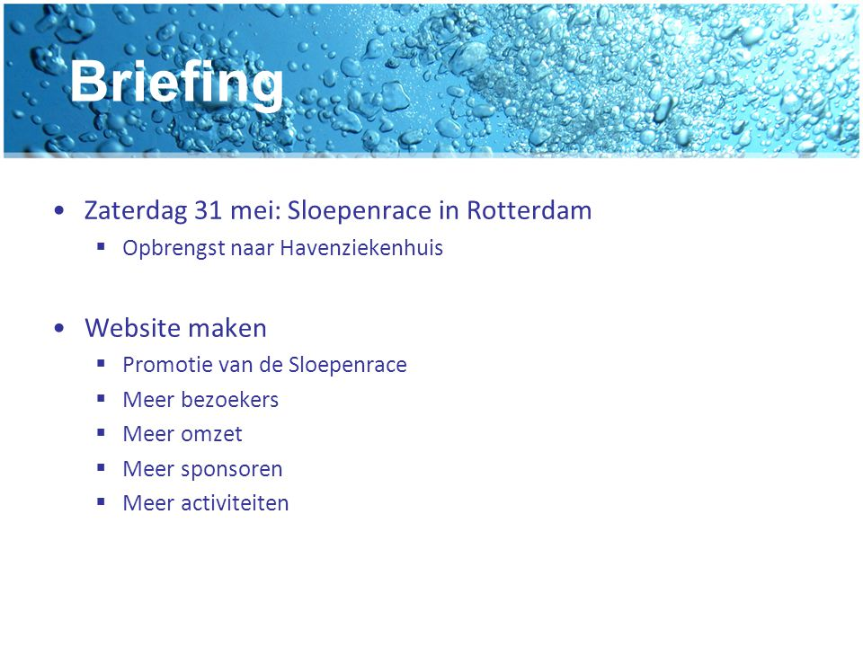 Briefing Zaterdag 31 mei: Sloepenrace in Rotterdam Website maken