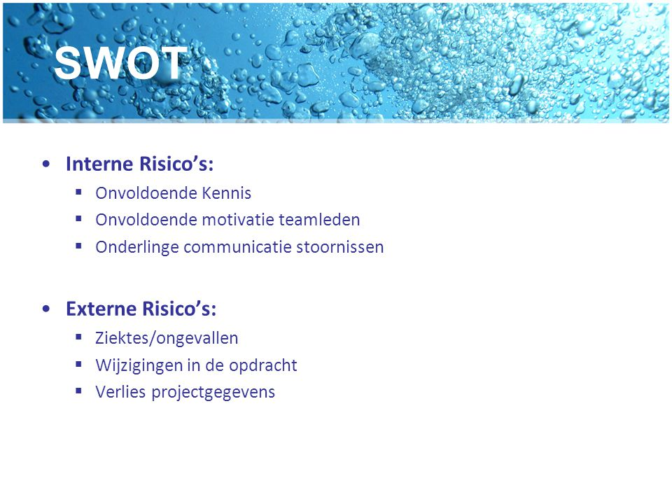 SWOT Interne Risico's: Externe Risico's: Onvoldoende Kennis