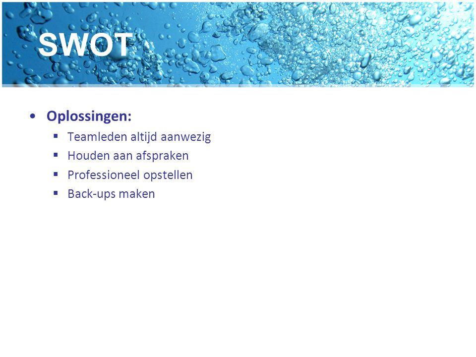SWOT Oplossingen: Teamleden altijd aanwezig Houden aan afspraken