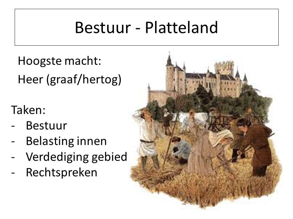Bestuur - Platteland Hoogste macht: Heer (graaf/hertog) Taken: Bestuur