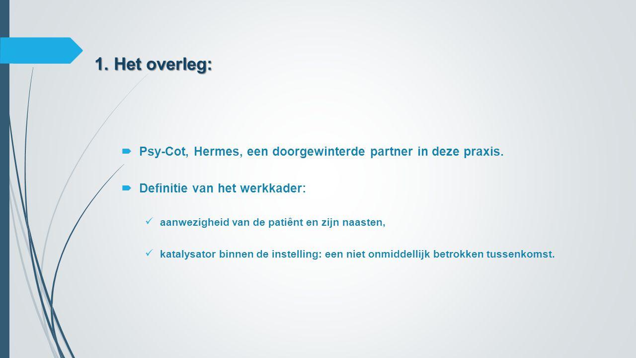 1. Het overleg: Psy-Cot, Hermes, een doorgewinterde partner in deze praxis. Definitie van het werkkader: