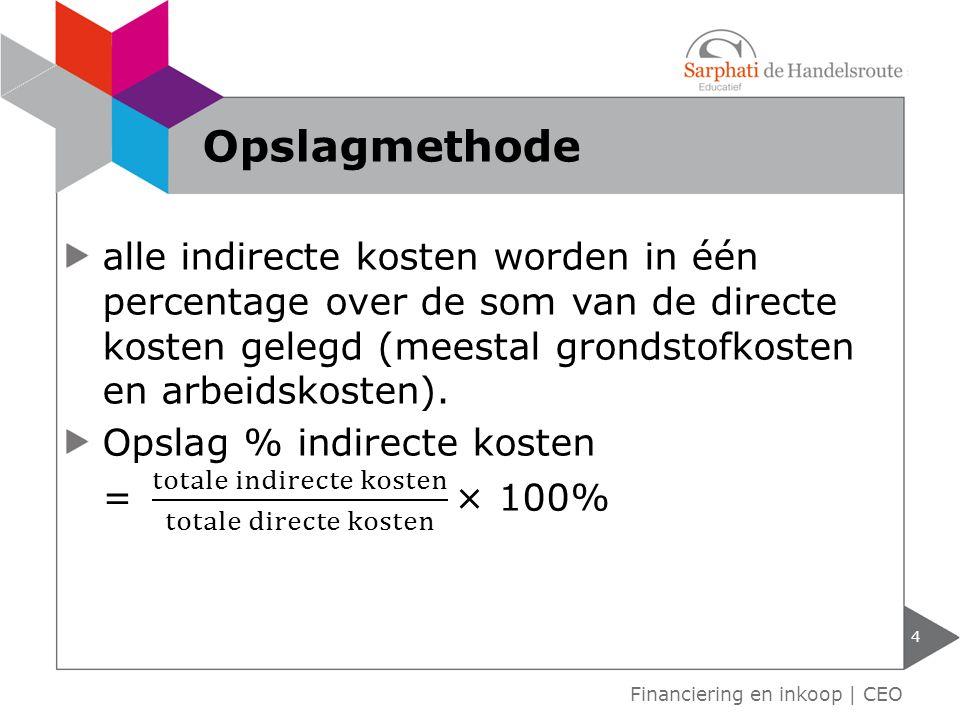 Opslagmethode alle indirecte kosten worden in één percentage over de som van de directe kosten gelegd (meestal grondstofkosten en arbeidskosten).