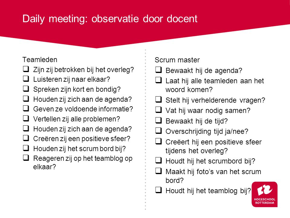 Daily meeting: observatie door docent