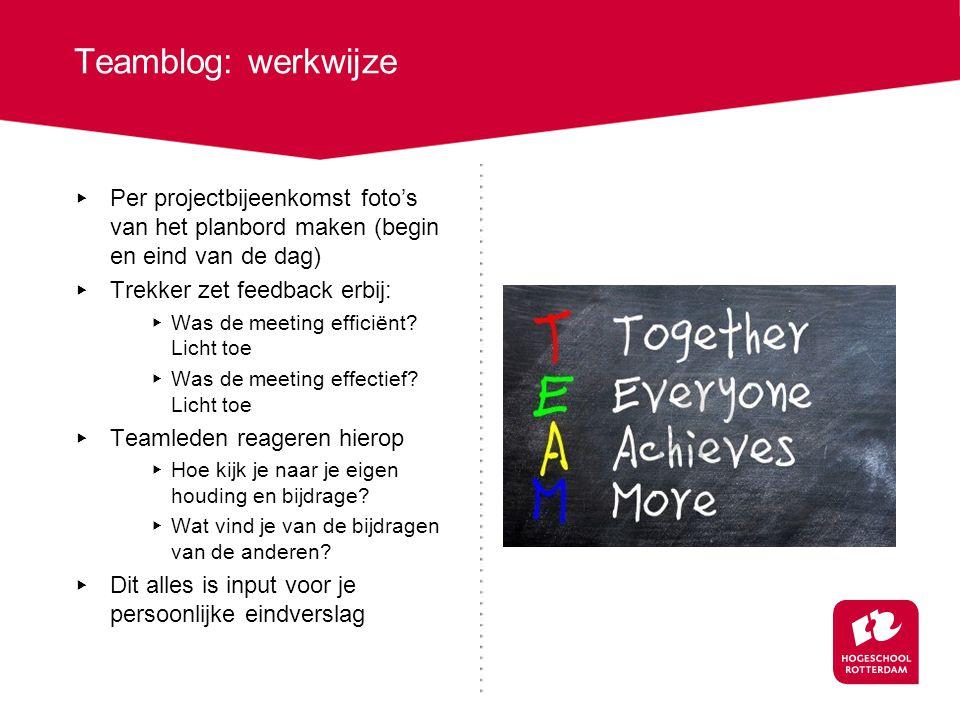 Teamblog: werkwijze Per projectbijeenkomst foto's van het planbord maken (begin en eind van de dag)