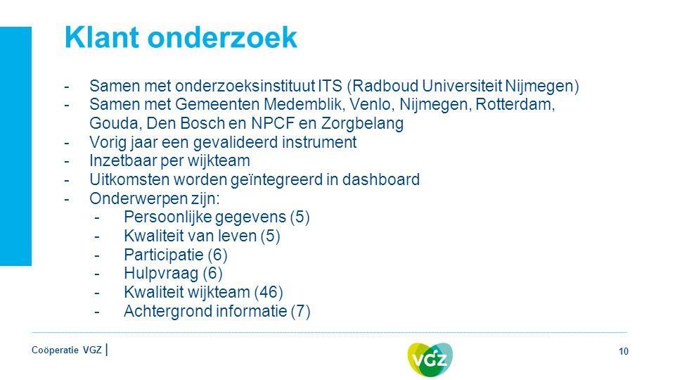 Klant onderzoek Samen met onderzoeksinstituut ITS (Radboud Universiteit Nijmegen)