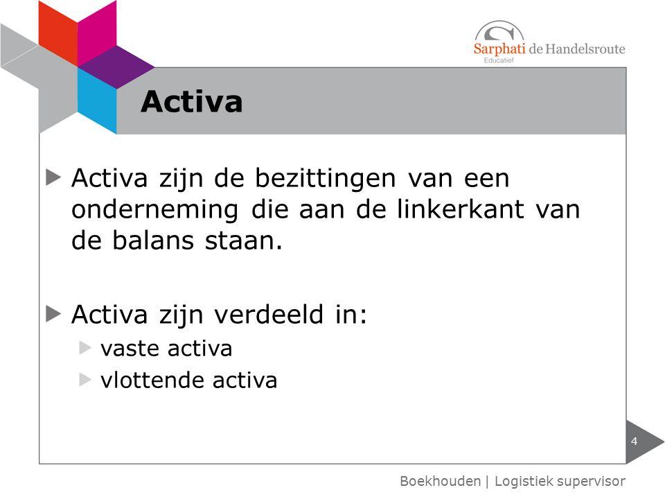 Activa Activa zijn de bezittingen van een onderneming die aan de linkerkant van de balans staan. Activa zijn verdeeld in: