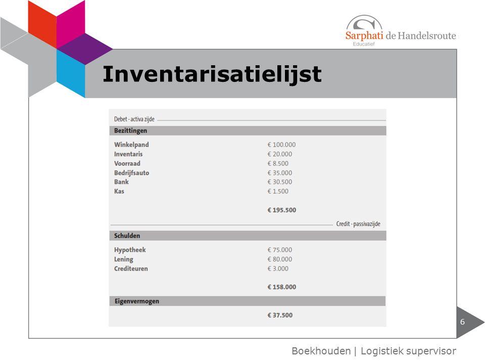 Inventarisatielijst Boekhouden | Logistiek supervisor