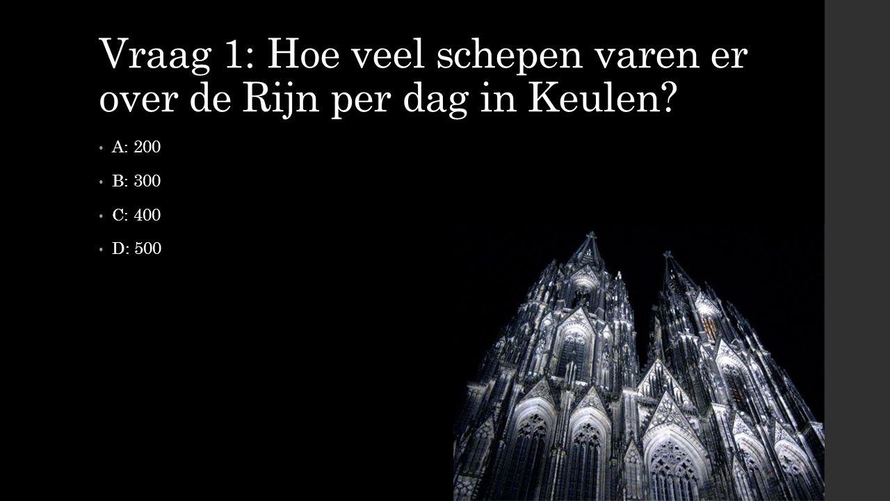 Vraag 1: Hoe veel schepen varen er over de Rijn per dag in Keulen