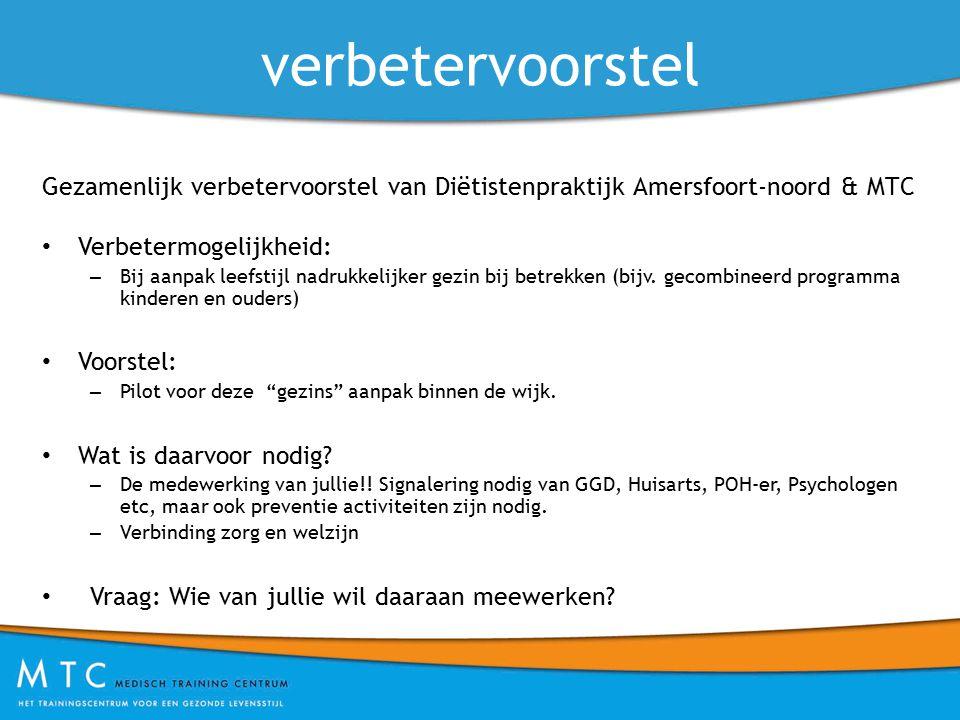 verbetervoorstel Gezamenlijk verbetervoorstel van Diëtistenpraktijk Amersfoort-noord & MTC. Verbetermogelijkheid:
