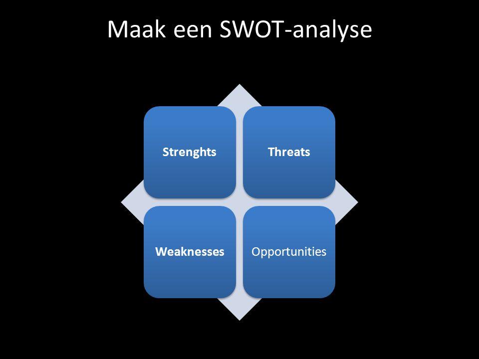 Maak een SWOT-analyse Strenghts Threats Weaknesses Opportunities