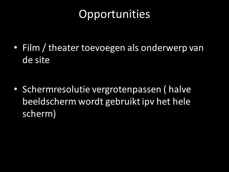 Opportunities Film / theater toevoegen als onderwerp van de site