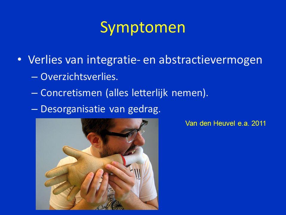 Symptomen Verlies van integratie- en abstractievermogen