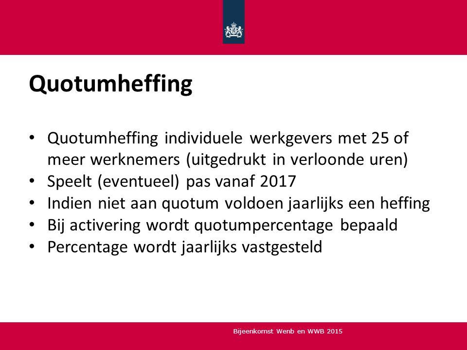 Quotumheffing Quotumheffing individuele werkgevers met 25 of meer werknemers (uitgedrukt in verloonde uren)