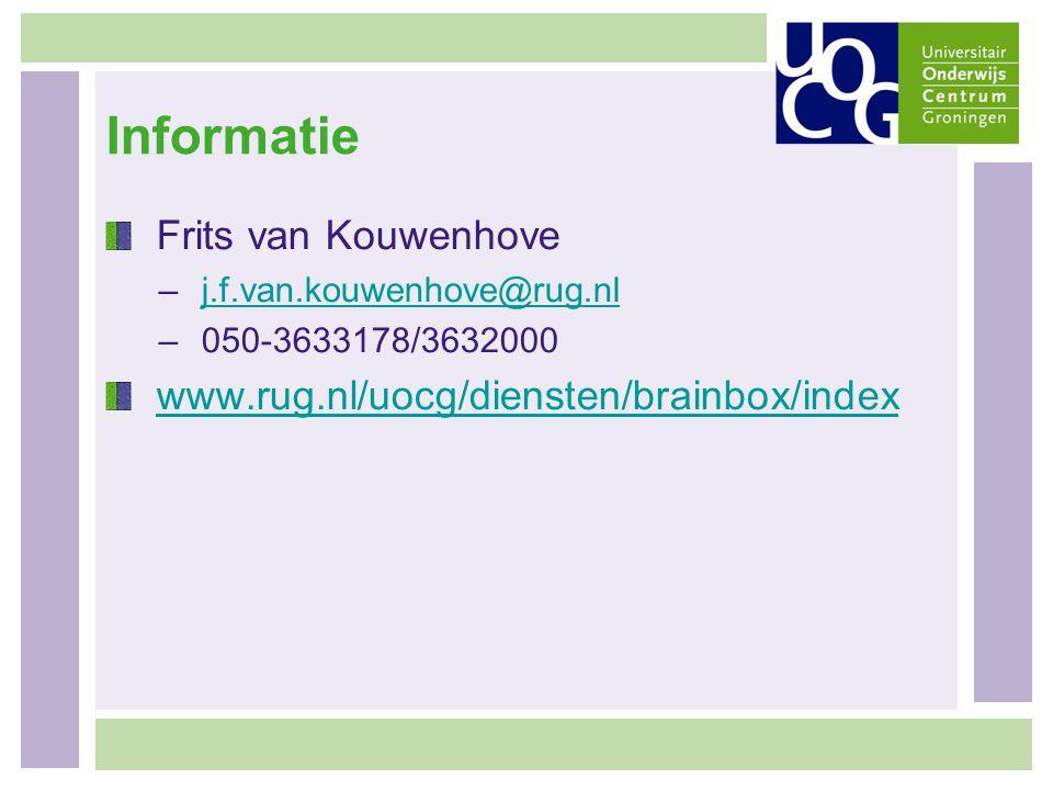 Informatie Frits van Kouwenhove