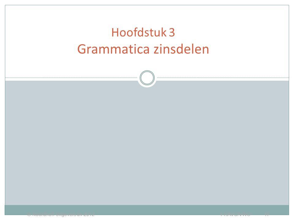 Hoofdstuk 3 Grammatica zinsdelen