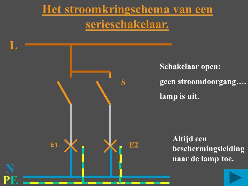 Het stroomkringschema van een serieschakelaar.