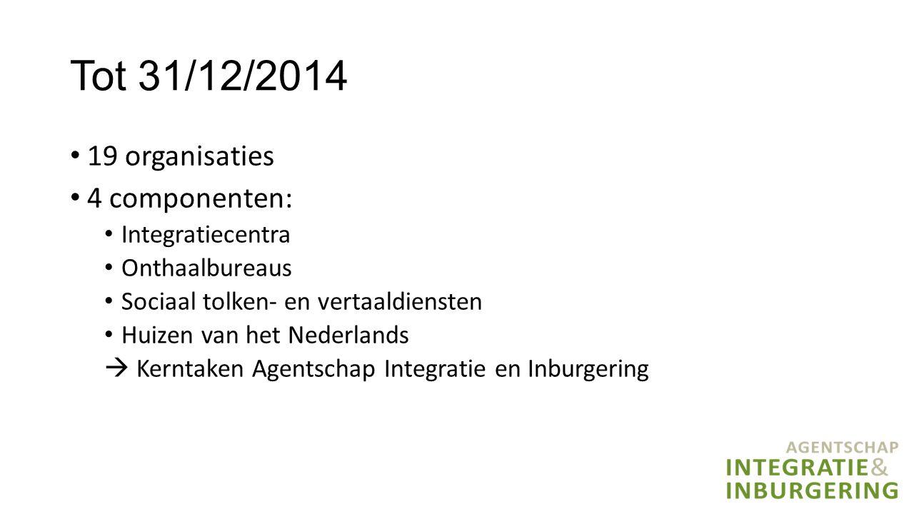 Tot 31/12/2014 19 organisaties 4 componenten: Integratiecentra