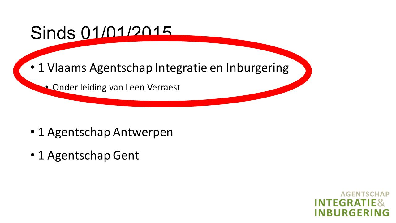 Sinds 01/01/2015 1 Vlaams Agentschap Integratie en Inburgering