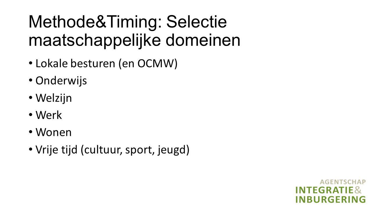 Methode&Timing: Selectie maatschappelijke domeinen